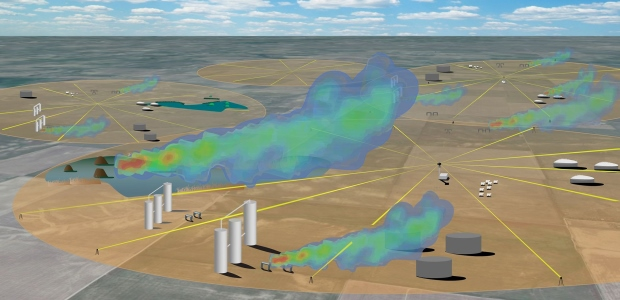 The researchers successfully tested the method at a Colorado well field containing place methane leak sources. (Stephanie Sizemore and Ian Coddington/NIST illustration)
