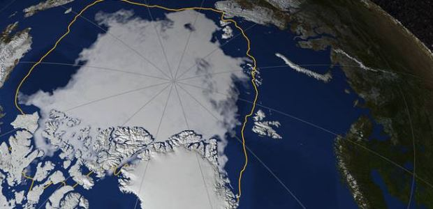 This image shows Arctic sea ice on Sept. 13, 2017, when the ice reached its annual minimum. The yellow line marks the 30-year average minimum sea ice extent from 1981 through 2010. (Credit: NASA
